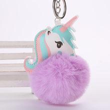 Unicórnio Kawaii Brinquedos De Pelúcia Chaveiros Fofo Pom Pom Pele unicornio do anel chave Chaveiro Saco Meninas Pendurar Pingente de Presente de Aniversário para Crianças brinquedos(China)
