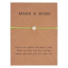 10*7.5cm faire un souhait Papper carte amour tissé réglable Bracelet mode bijoux cadeau pour femmes, hommes, enfants(China)