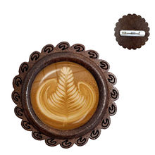 Kopi Latte Ukiran Cinta Hati Seni 20 Mm Kaca Cabochon Kayu Bros Coklat Printing Empat Daun Semanggi Pesona Kucing Kerah pin(China)