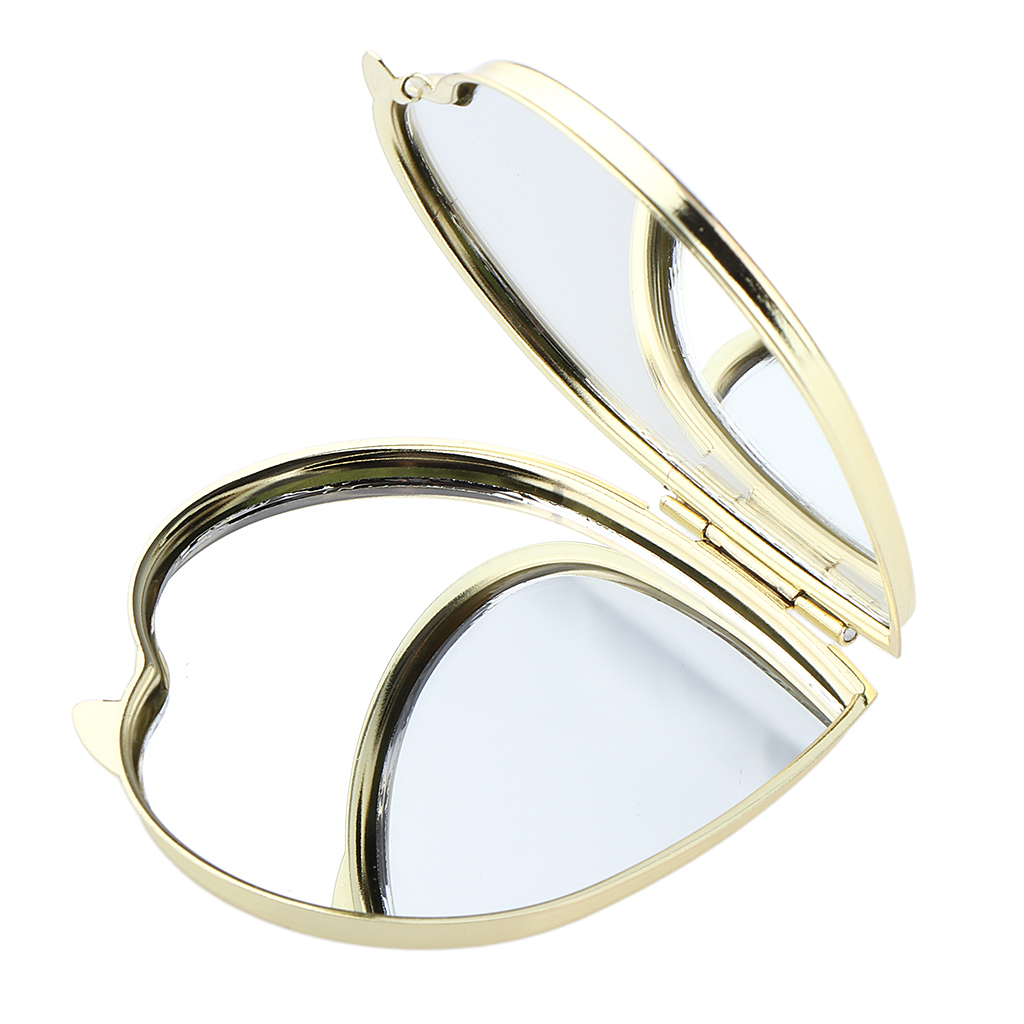 Gold Compact Purse Mirror, Metal Heart-Shaped 2 Sided Mirrors - Clear Reflection & Locking Clasp, Romantic Small Gift for Her
