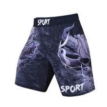 Calções de boxe de secagem rápida dos homens mma print shorts taekwondo luta luta animal calças muay thai calções de boxe respirável(China)