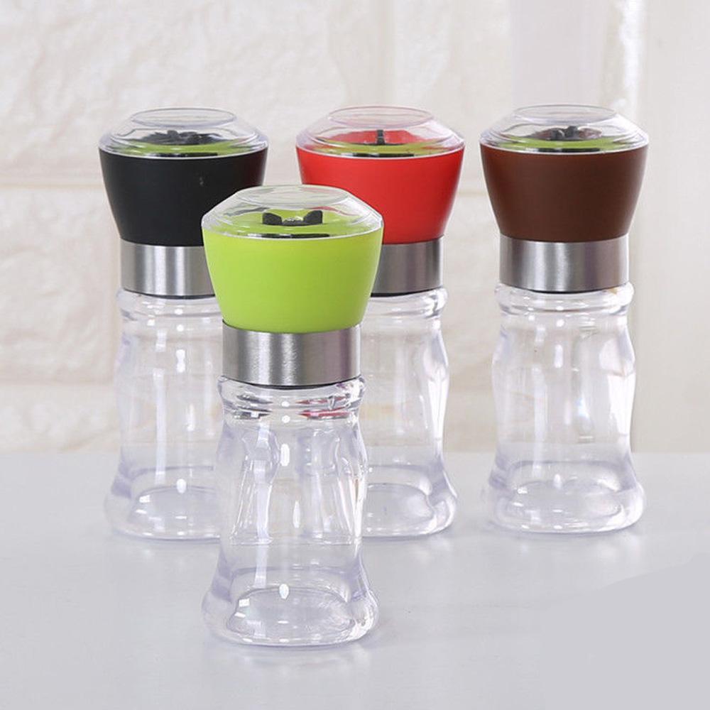 Salt and Pepper Grinder Set Mill Brushed Stainless Steel Glass Bottle Spices