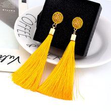 Black Crystal Flower Fringe Earings Earing Geometric Long Dangle Tassel Earrings For Women 2019 Fashion Jewelry Oorbellen Gift(China)