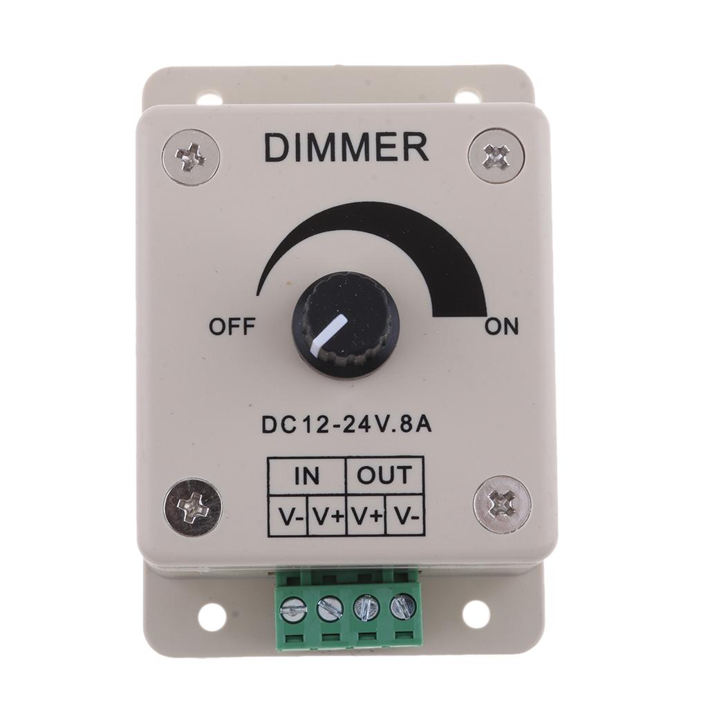 DC12V 8A Single Channel Knob Dimmer PWM Dimming Controller for Marine Boat LED Lights, Ribbon Lights, Tape Lights