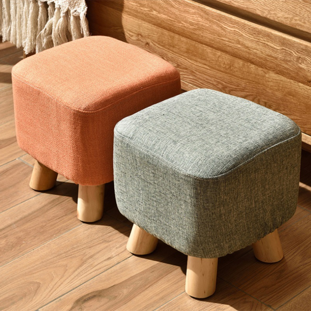 Linen Cotton Ottoman Cover Square Stool Covers Slipcover for Footstool Decor Bar Home Kitchen Hotel Office Wedding Celebration