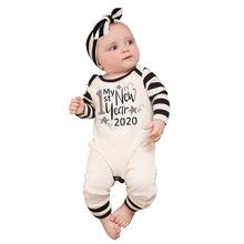 الرضع الوليد طفل الفتيات الفتيان سعيد سنة جديدة بذلة رومبير ملابس كاجوال السروال القصير الطفل الوليد roupa دي طفل للجنسين القماش(China)