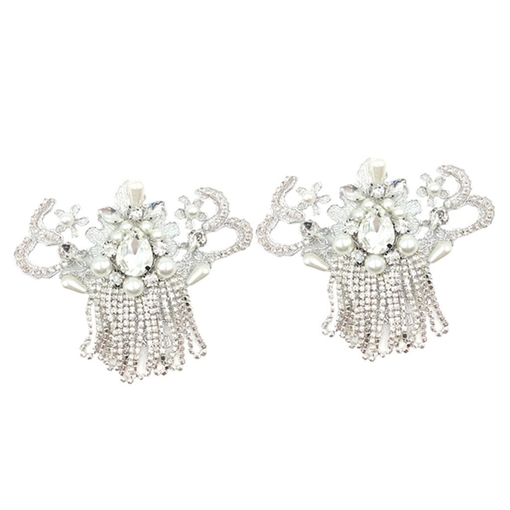 2 Pieces Crystal Pearl Shoe Clip Buckle Wedding Bridal Party Shoe Decoration