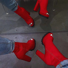 Frauen Zip Peep Toe Leopard Stiefeletten Herbst Neue Damen Schlange Muster Plattform Dicke High Heels Weibliche Mode Frühjahr Schuhe(China)