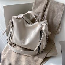 Bolsas de couro de alta capacidade do plutônio da cor sólida para as mulheres corrente preta crossbody bolsa ombro feminino inverno viagem totes(China)