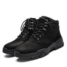 KATESEN Sonbahar Kış peluş sıcak hakiki deri erkek botları tüm sezon iş ayakkabısı adam bileğe kadar bot kürk siyah Açık botlar(China)