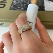 POFUNUO אמיתי 925 סטרלינג כסף רוחב זיגוג 18K זהב AAA זירקון טבעות לנשים יוקרה חתונה תכשיטי יהלומי קשת נישה טבעות(China)