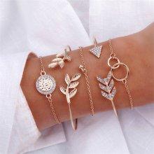 5 pièces/ensemble mode femmes charme plage or couleur chaîne lune cristal géométrie chaîne Bracelet ensemble de Bracelet bijoux une vente directe(China)