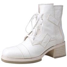 Doratasia 100% Hakiki deri At cilt marka tasarım 2020 kare topuklu yarım çizmeler Kadın Ayakkabı Kadın motosiklet Botları kadın(China)