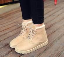 2019 kış Faux süet yarım çizmeler kadınlar için kar botları sıcak peluş kürk Lace-up çizmeler rahat düz platformu bayanlar ayakkabı(China)