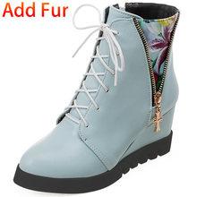 DORATASIA büyük boy 33-44 bayanlar takozlar yüksek topuklu yarım çizmeler yeni moda fermuar kaymaz kışlık botlar kadınlar bağcıklı ayakkabı kadın(China)