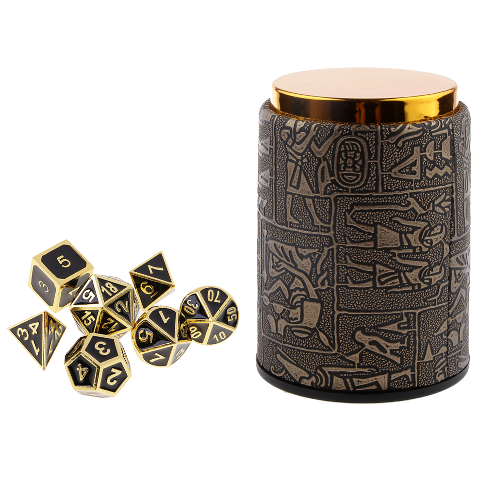 7 pieces Metal Polyhedral Dice for Dungeons & Dragons Dice Table Games RPG MTG+Dice Cup #3