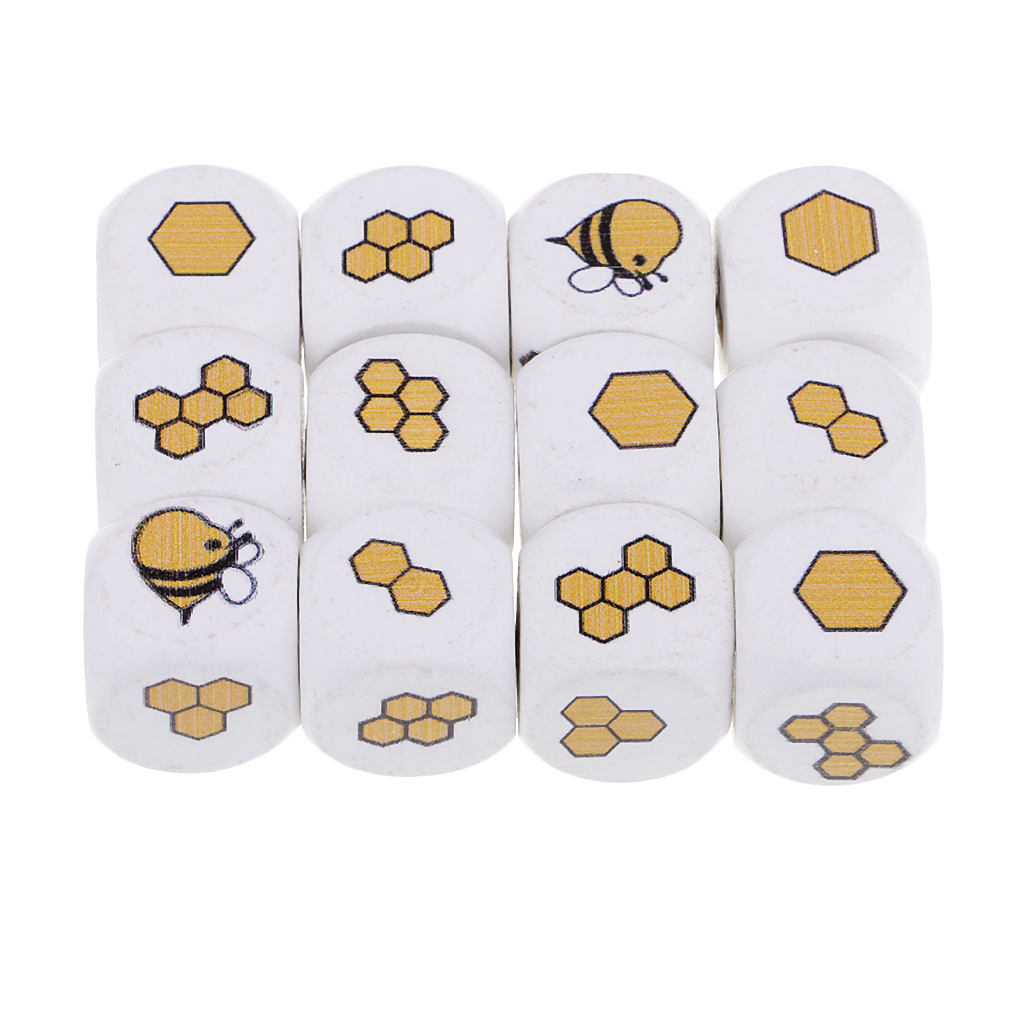 12 Pieces White Printed Wooden Cube Natural Wooden Blocks Wood Embellishment Decorative Wood For DIY Crafting Craft Toy