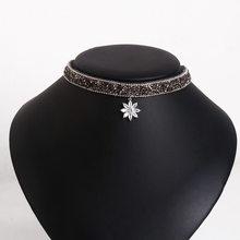 Chooker femmes collier bijoux coréen cristal flocon de neige DRUZY pierre noir brillant mode collier et pendentif clavicule chaîne(China)