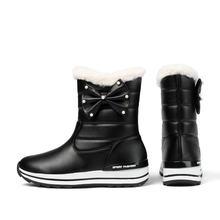 QUTAA 2020 Polka Dot kelebek-düğüm tatlı orta buzağı çizmeler kış sıcak kürk kadın ayakkabı PU kayma yuvarlak ayak kar botları boyutu 34-43(China)