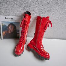 Fedonas Punk Nữ Da Thật Chính Hãng Da Đầu Gối Boot Nữ Cổ Cao Xe Máy Câu Lạc Bộ Đêm Giày Người Phụ Nữ Nền Tảng Giày Chun Gót(China)