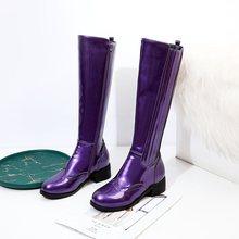 EGONERY Punk đầu gối-Giày cao người phụ nữ mùa đông vàng tím đen 4cm giữa Giày cao gót nữ thời trang mùa đông dây kéo thoáng mát Giày(China)