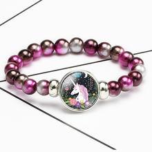 Nowa kreskówka jednorożec dzieci bransoletka dziewczyna piękne bransoletki Pegasus jednorożec bransoletka z paciorkami słodkie bransoletki ze sznurków biżuteria prezent(China)