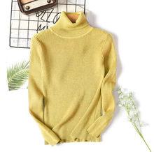 RUGOD/осенне-зимний женский вязаный свитер с высоким воротом, Одноцветный эластичный свитер, базовый свитер(China)