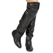 Sobre o joelho botas sapatos Dedo Do Pé Redondo de salto baixo mulheres botas femininas de inverno de couro botas longas mulheres sapatos # G3(China)