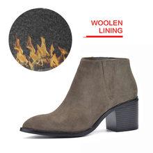 Donna-in 2016 bahar tek çizmeler sivri burun, kalın topuk ayak bileği çizmeler bayanlar kısa çizmeler kadın deri çizmeler(China)