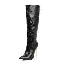 WETKISS Leopar Seksi Çizmeler Kadın Yüksek Topuklu Yılan Derisi Çizme Kadın Diz Yüksek Ayakkabı Bayanlar Parti Sivri Burun Ayakkabı Büyük boyutu 48(China)