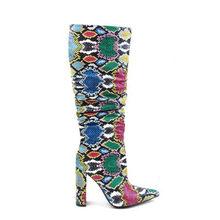 Prova Perfetto Kadınlar Yüksek Topuklu Kalın Çizmeler Renkli Yılan Cilt Çizmeler Sivri Burun Zip Ayakkabı Kadın Parti Diz Çizmeler Bayanlar ayakkabı(China)