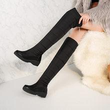 2019 kış diz yüksek çizmeler su geçirmez pamuk kar botu s kadın eğim topuk kalınlaşmış kadife çizmeler kar botu kadın HX-61B(China)