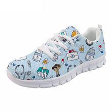 FORUDESIGNS Nữ Trái Tim Y Tá Giày In cho Công Việc Phụ Nữ Thoải Mái Điều Dưỡng Lưới Giày Bé Gái Đen Flat Zapatillas(China)