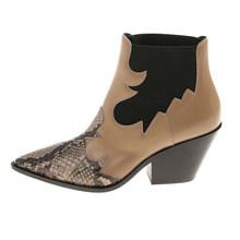 Sivri burun sanke cilt tıknaz topuk sonbahar ayakkabı 2020 yarım çizmeler kadınlar alev desen patchwork martin kısa botas mujer(China)