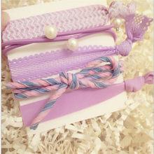 5 pièces solide dentelle tissu élastique bandes de cheveux Simple noeud femmes filles cheveux chouchous corde femelle élastique pour queue de cheval accessoires de cheveux(China)