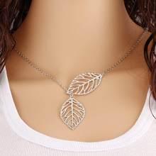 Europejska i amerykańska moda biżuteria prosta osobowość dziki temperament nowy liść podwójny liść dziki krótki naszyjnik kobiety(China)
