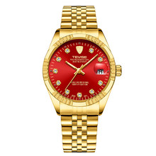 Tevise men marca relógio de moda luxo relógio de pulso à prova dsemi-automatic água semiautomática relógio mecânico luminoso esporte relógios casuais(China)