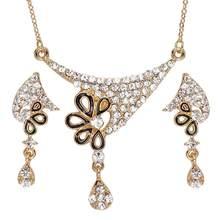 קלאסי קובע גדול הצהרת שרשרת צמיד עגילי טבעת סט לנשים למסיבת כלה(China)