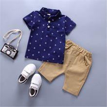 2 stücke Sommer Baby Boy Kleidung Sets 2019 Neues Angebot Kinder Kleidung Baumwolle Solide Kinder Kleidung Herren Jungen T-shirt Hosen(China)
