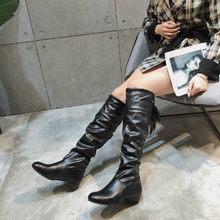 Fujin femmes bottes hiver bout rond livraison directe bottes hautes Riband fond plat bas talons sans lacet mode loisirs genou bottes hautes(China)
