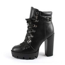 SOPHITINA su geçirmez Platform yarım çizmeler dantel-up moda rahat 12cm yüksek kare topuk kadın ayakkabı el yapımı bayan botları H1(China)