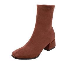 Wetkiss Co Giãn Đàn Giày Nữ Vớ Mắt Cá Chân Giày Boot Nữ Hình Vuông Mũi Dày Gót Giày Thời Trang Nữ Da Lộn Mùa Đông 2020 mới(China)