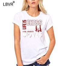 Pria T Shirt Catur Kemeja Kehidupan Adalah Catur Kaos Lucu Kaos Baru Tshirt Wanita(China)