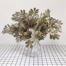 Горячая SV-искусственные листья 9-контактный разъем зеленого цвета Финика Унаби) Листья пучок со стеной из живых растений Цветочная композиц...(Китай)