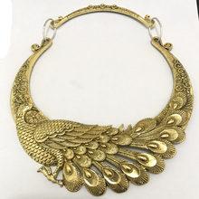 Lzhlq Thương Hiệu Retro Khắc Chim Công Cổ Choker Vòng Nữ 2019 Mới Kẽm Hợp Kim Dây Chuyền Hợp Thời Trang Collares Collier(China)