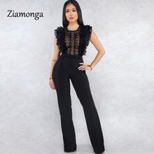 Ziamonga Sexy sin mangas sin espalda con volantes mono elegante ahuecado para mujer monos largos de verano mono Casual(China)
