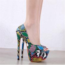 Kış Kadın Botları Renkli Yılan Cilt Çizmeler Kadın Yüksek Topuk Kalın Boot yılan derisi Sivri Burun Zip Ayakkabı Kadın Slouch Boots 38.5(China)