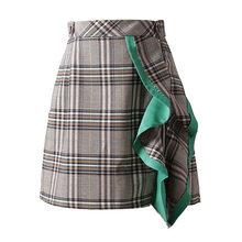 LANMREM 2020 nowa wiosna wysokiej talii zielone Ruffles podziel wspólne Plaid luźna nieregularna spódnica pół ciała kobiety moda fala JI266(China)