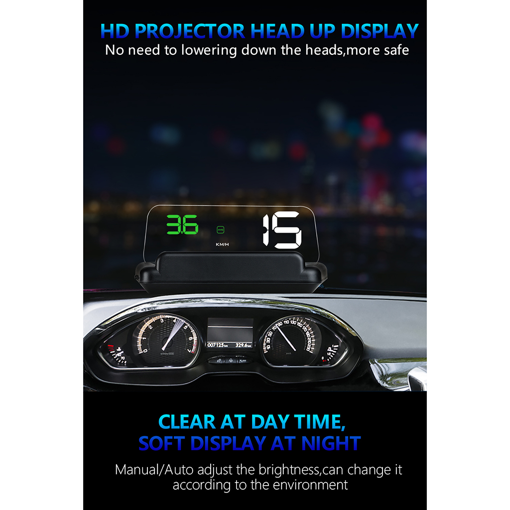 HUD Mirror Car LED Head Up Display Windshield Speed Projector Security Alarm Water Temp Overspeed KMH RPM Voltage Speedometer