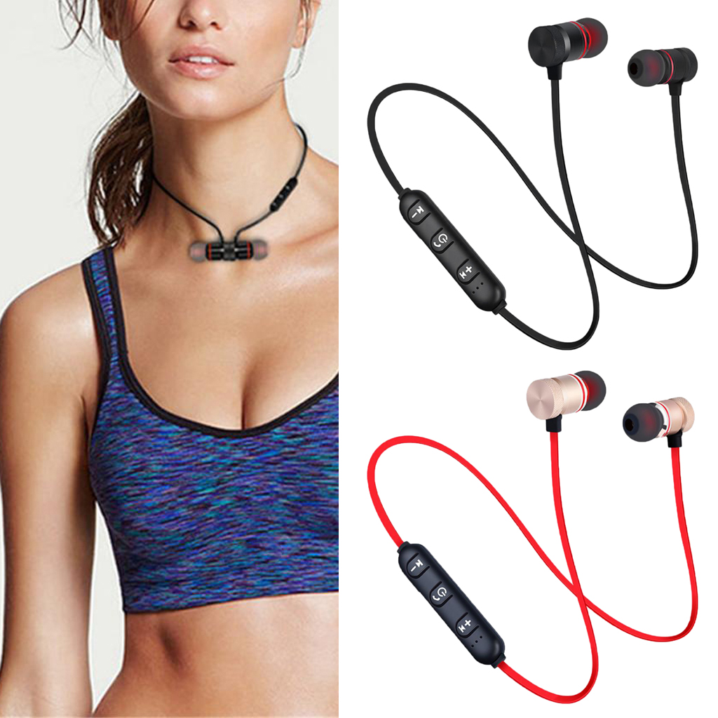 Bluetooth 4.1 Headphones Wireless Sport Neckband Music Earphones Headsets HiFi Stereo Earbuds With Mic for Workout Running Gym